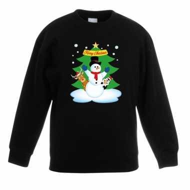 Kersttrui sneeuwpop vriendjes zwart kinderen