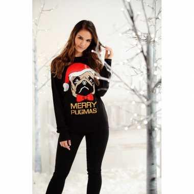 Kersttrui zwart mopshond dames/heren