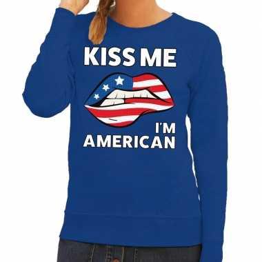 Kiss me i am american trui blauw dames