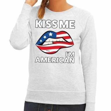 Kiss me i am american trui grijs dames