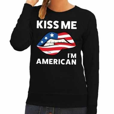 Kiss me i am american trui zwart dames