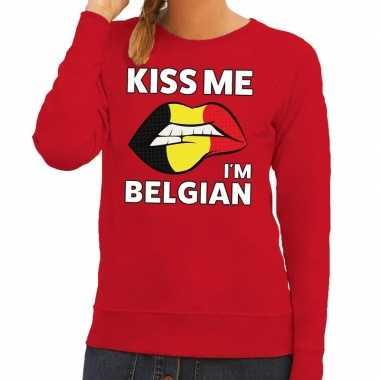 Kiss me i am belgian trui rood dames