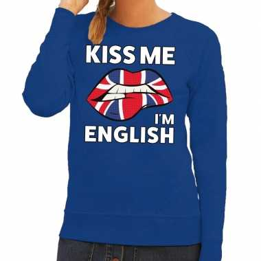 Kiss me i am english trui blauw dames