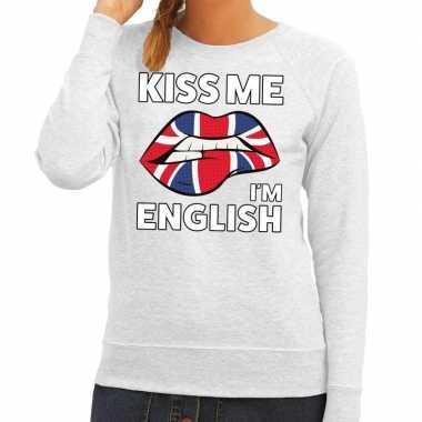 Kiss me i am english trui grijs dames