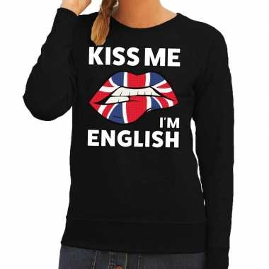Kiss me i am english trui zwart dames