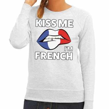 Kiss me i am french trui grijs dames