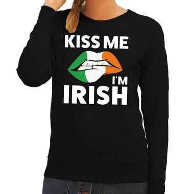 Kiss me i am irish trui zwart dames