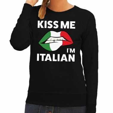 Kiss me i am italian trui zwart dames