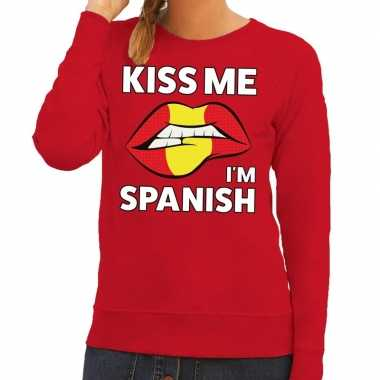 Kiss me i am spanish trui rood dames
