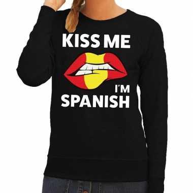 Kiss me i am spanish trui zwart dames