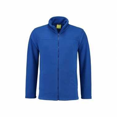 Kobaltblauw fleece trui rits volwassenen