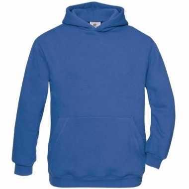 Kobaltblauwe katoenmix trui met capuchon voor j