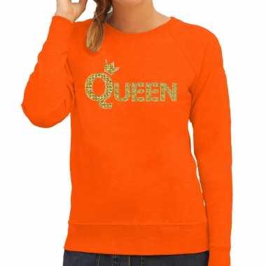 Koningsdag queen trui / trui oranje gouden letters kroon dames