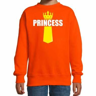 Koningsdag trui / trui princess kroontje oranje kinderen