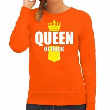 Koningsdag trui / trui queen of rock kroontje oranje dames