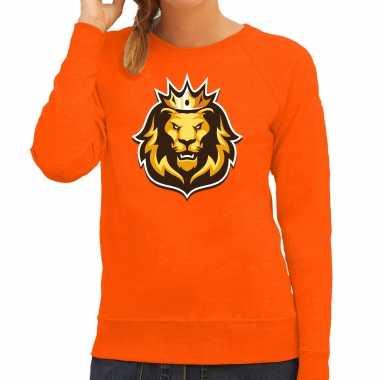 Leeuwenkop kroon koningsdag / ek / wk trui / trui oranje dames