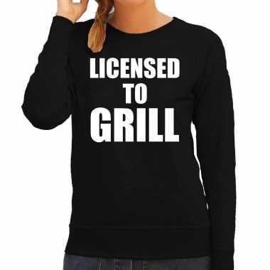 Licensed to grill bbq / barbecue cadeau trui / trui zwart dames
