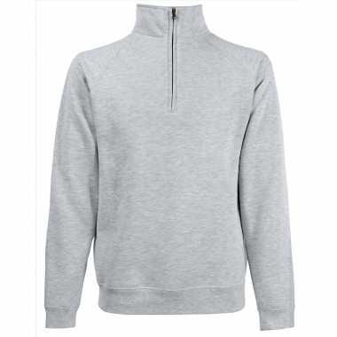 Lichtgrijze fleece trui/trui rits kraag heren/volwassenen