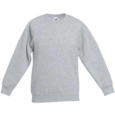 Lichtgrijze katoenmix trui voor jongens