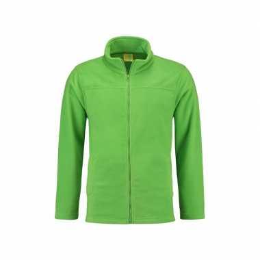 Lime fleece trui rits volwassenen