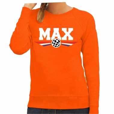 Max coureur tekst trui oranje dames