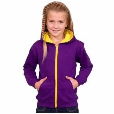 Meisjes trui paars geel