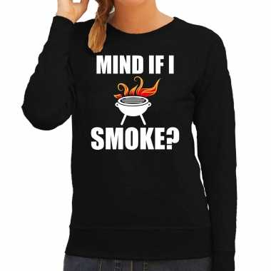 Mind if i smoke bbq / barbecue cadeau trui / trui zwart dames