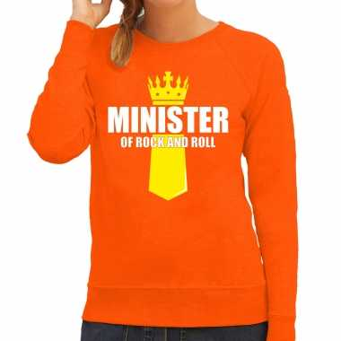 Minister of rock n roll kroontje koningsdag trui / trui oranje dames