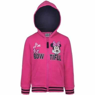 Minnie mouse trui met rits roze