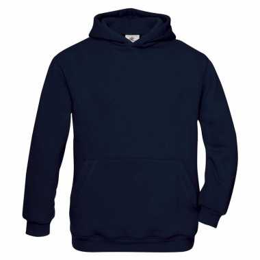 Navy blauwe katoenmix trui met capuchon voor meisjes