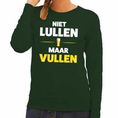 Niet lullen maar vullen tekst trui groen dames
