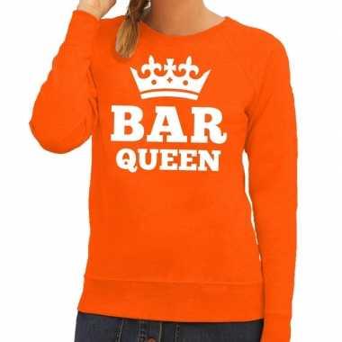 Oranje bar queen trui dames