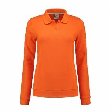 Oranje dames trui polo kraag