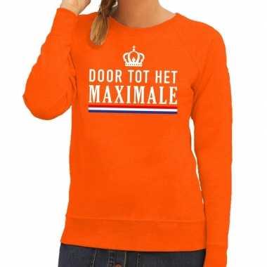 Oranje door tot maximale trui dames