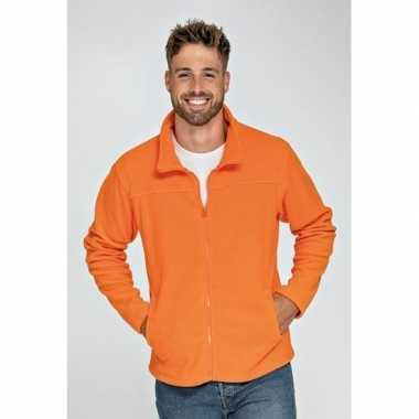 Oranje fleece trui rits volwassenen