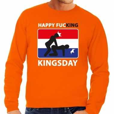 Oranje happy fucking kingsday trui heren