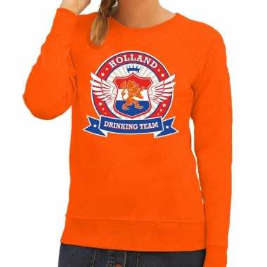Oranje holland drinking team trui dames