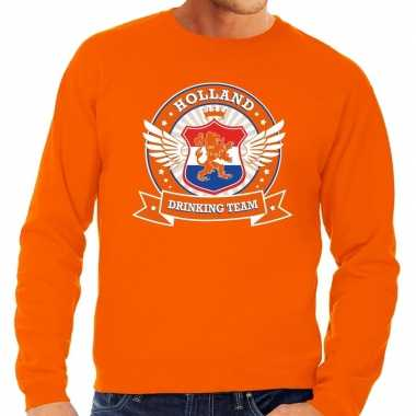 Oranje holland drinking team trui heren