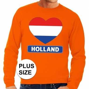 Oranje holland hart vlag grote maten trui / trui heren