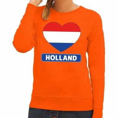 Oranje holland hart vlag trui dames
