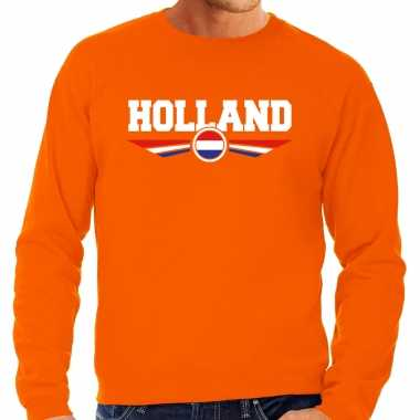 Oranje / holland supporter trui / trui oranje nederlandse vlag heren
