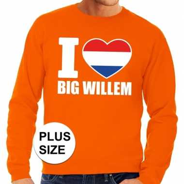 Oranje i love big willem grote maten trui / trui heren