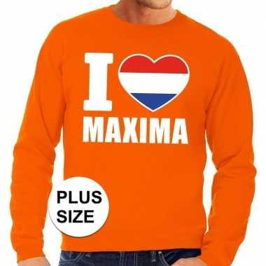Oranje i love maxima grote maten trui / trui heren
