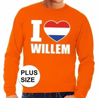 Oranje i love willem grote maten trui / trui heren