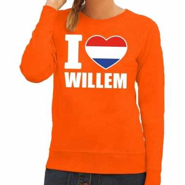 Oranje i love willem trui dames