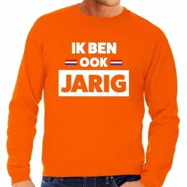 Oranje ik ben ook jarig trui heren
