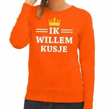 Oranje ik willem kusje trui dames