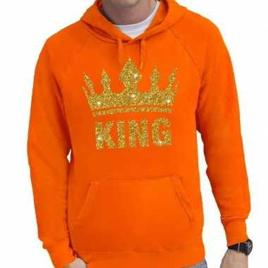 Oranje king gouden glitter kroon hoodie/hooded trui heren