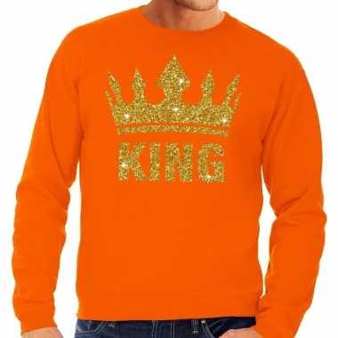 Oranje king gouden glitter kroon trui heren