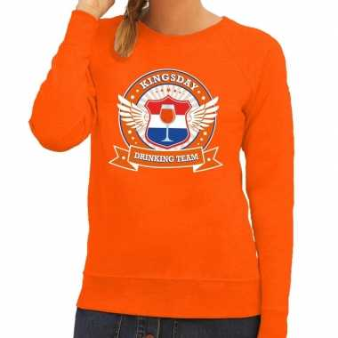 Oranje kingsday drinking team trui dames